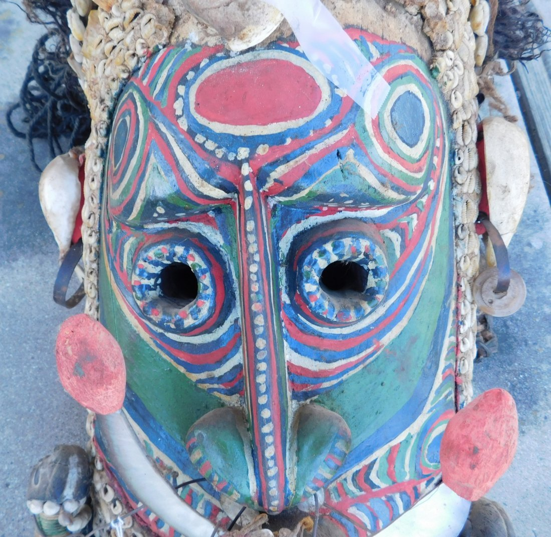 Papua New Guinea Inlaid Mask w/Helm COA - 4