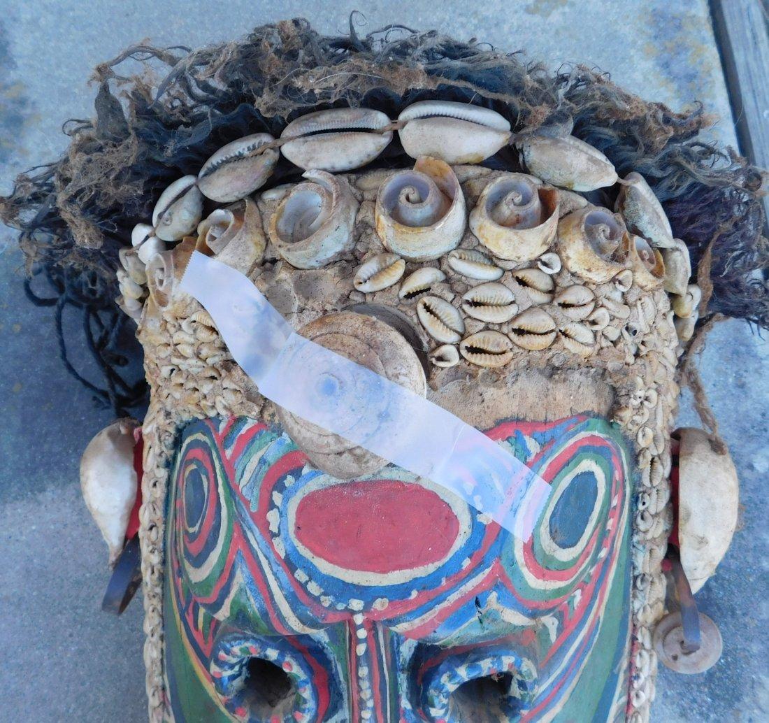 Papua New Guinea Inlaid Mask w/Helm COA - 5