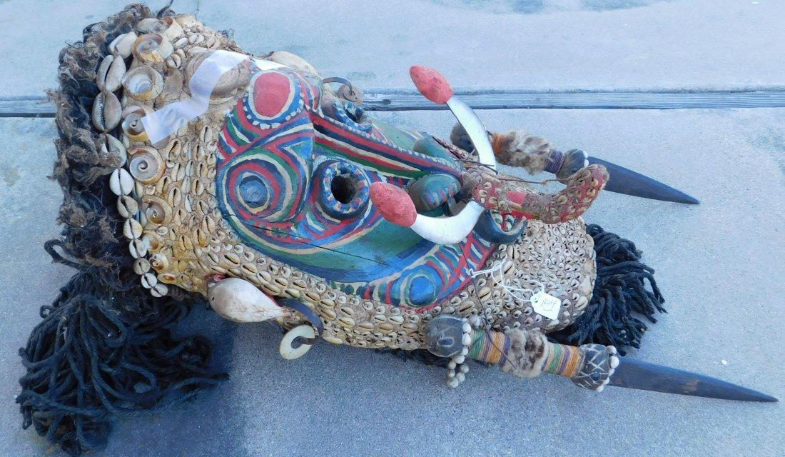 Papua New Guinea Inlaid Mask w/Helm COA - 6