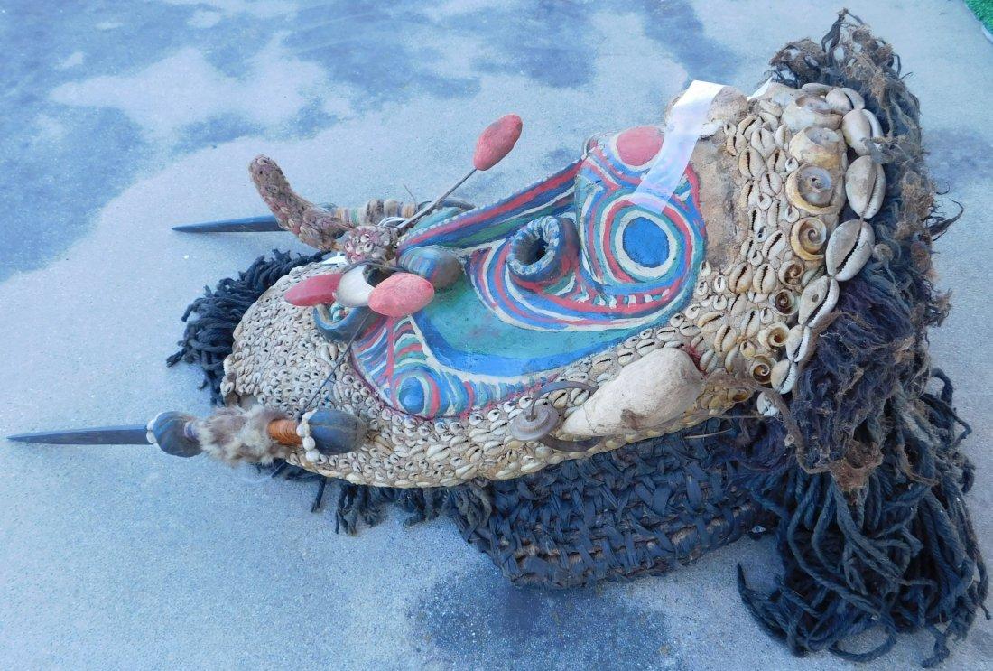 Papua New Guinea Inlaid Mask w/Helm COA - 7