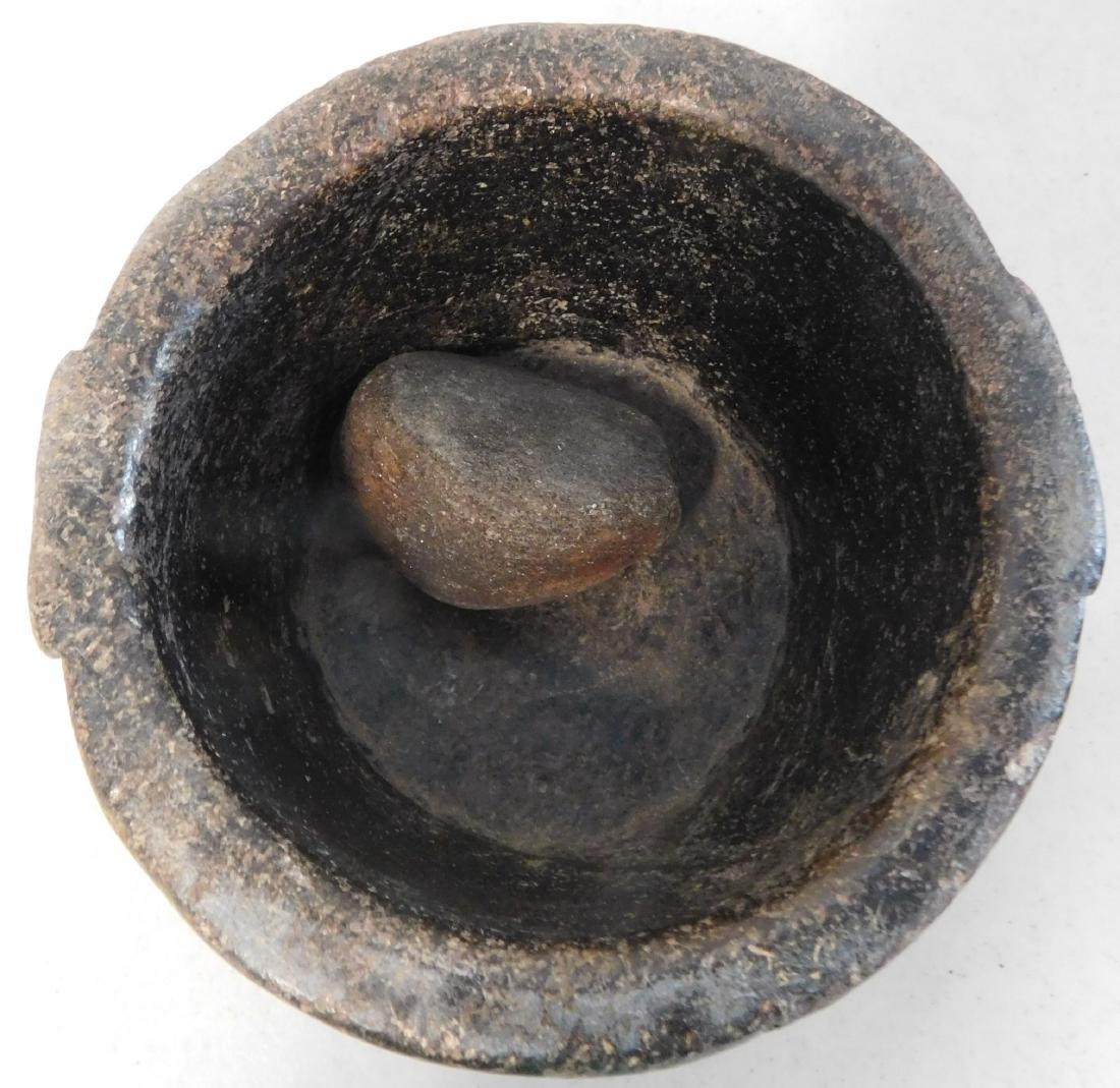 Steatite Bowl & Stone - 5