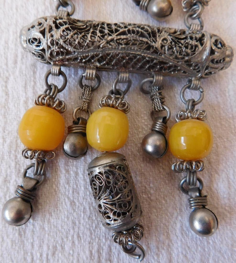 Indian Silver & Bead Necklace - 2