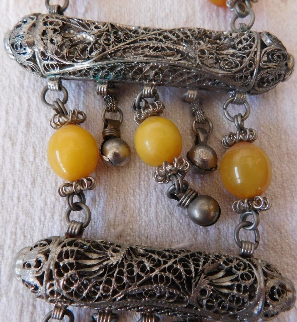 Indian Silver & Bead Necklace - 3