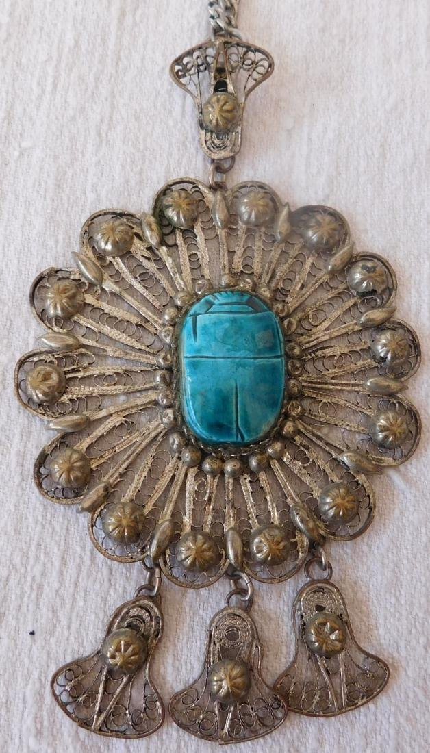 Indian Silver Necklace w/Scarab
