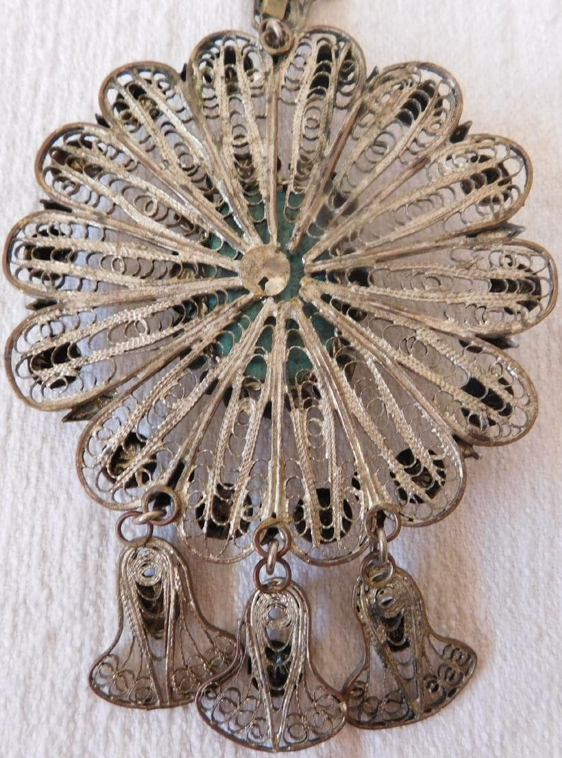 Indian Silver Necklace w/Scarab - 7