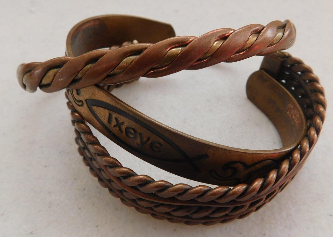 12 Old Mexican Copper Cuffs - 3