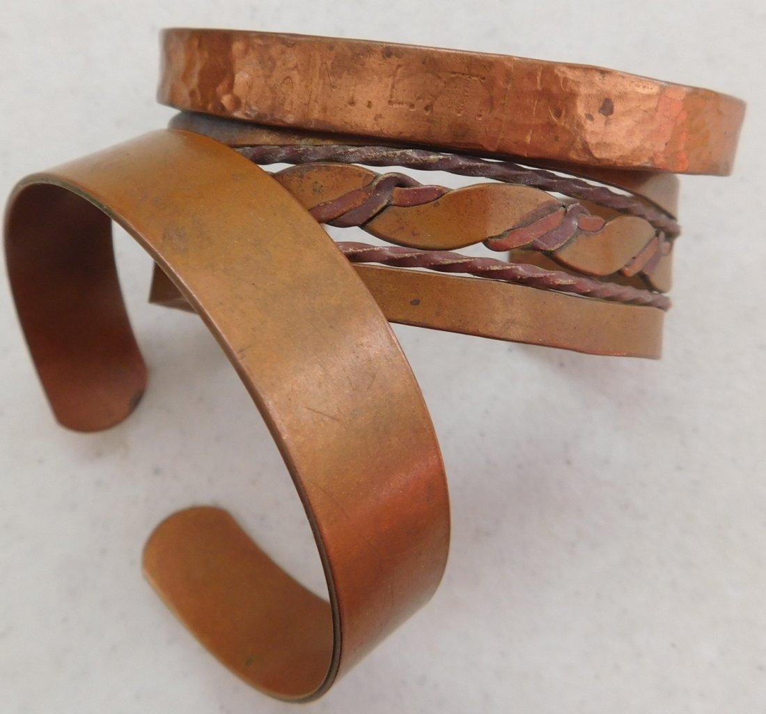 12 Old Mexican Copper Cuffs - 4