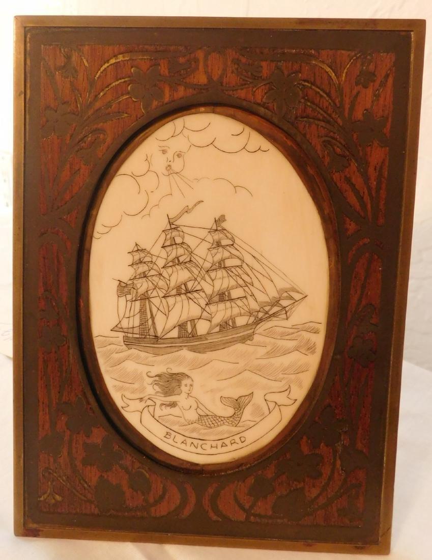 Scrimshaw Plaque of Ship