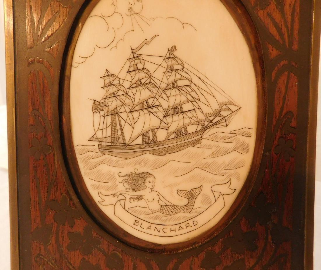 Scrimshaw Plaque of Ship - 3