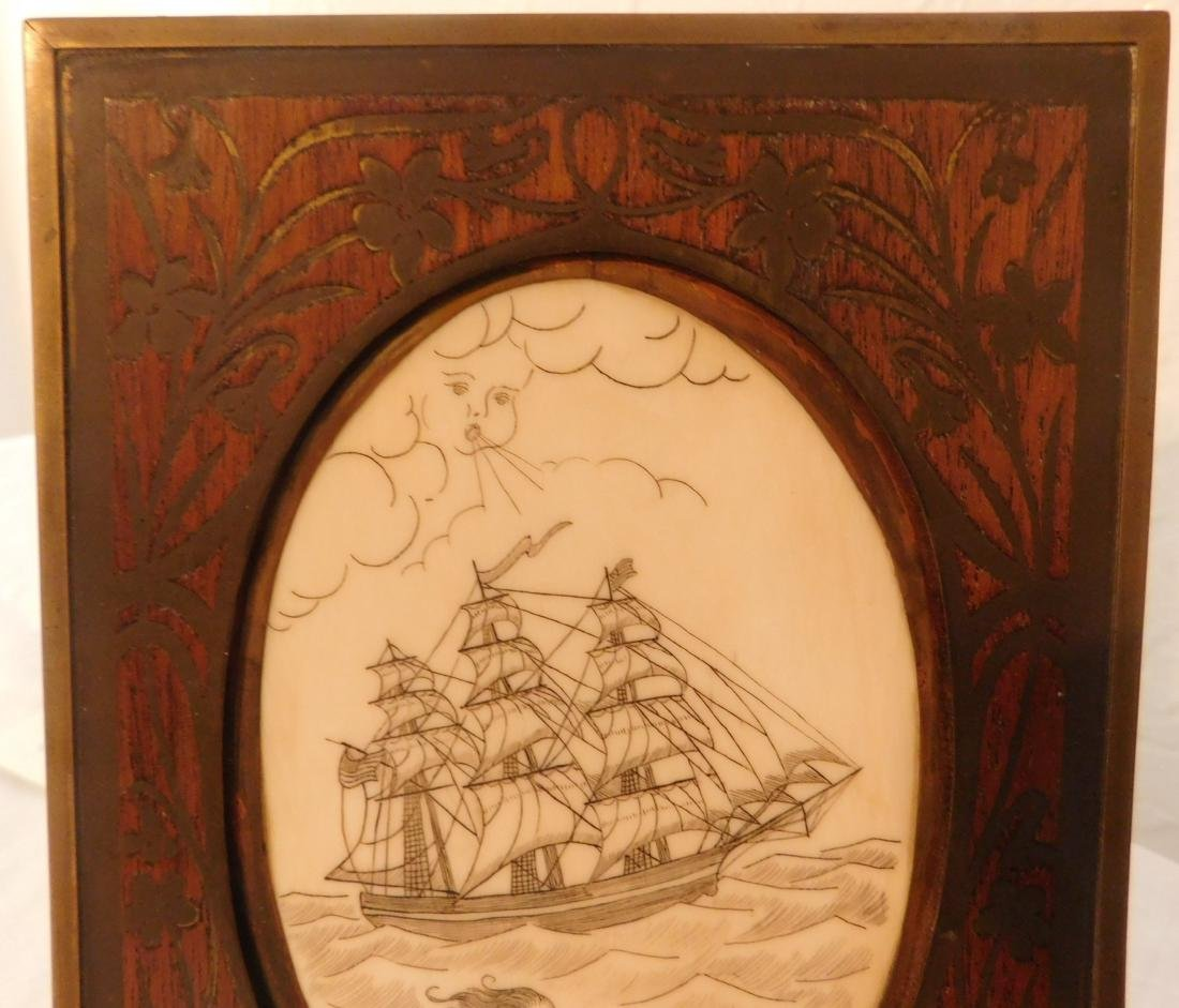 Scrimshaw Plaque of Ship - 4
