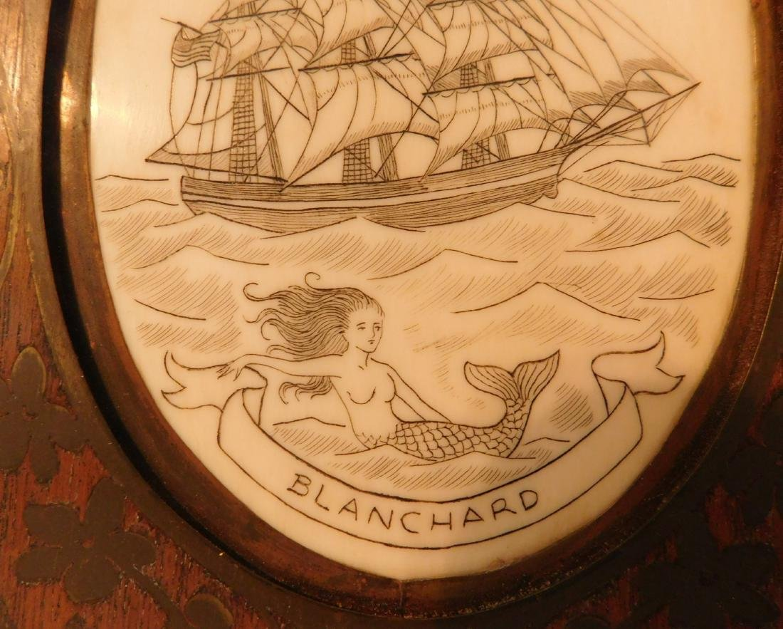 Scrimshaw Plaque of Ship - 5