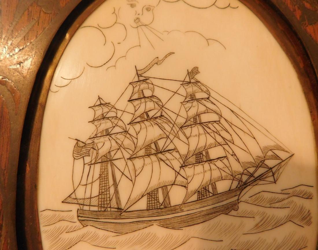 Scrimshaw Plaque of Ship - 6