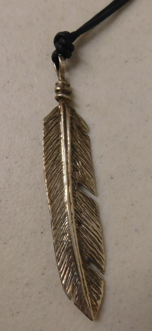 Silver Feather Pendant w/Necklace - 2