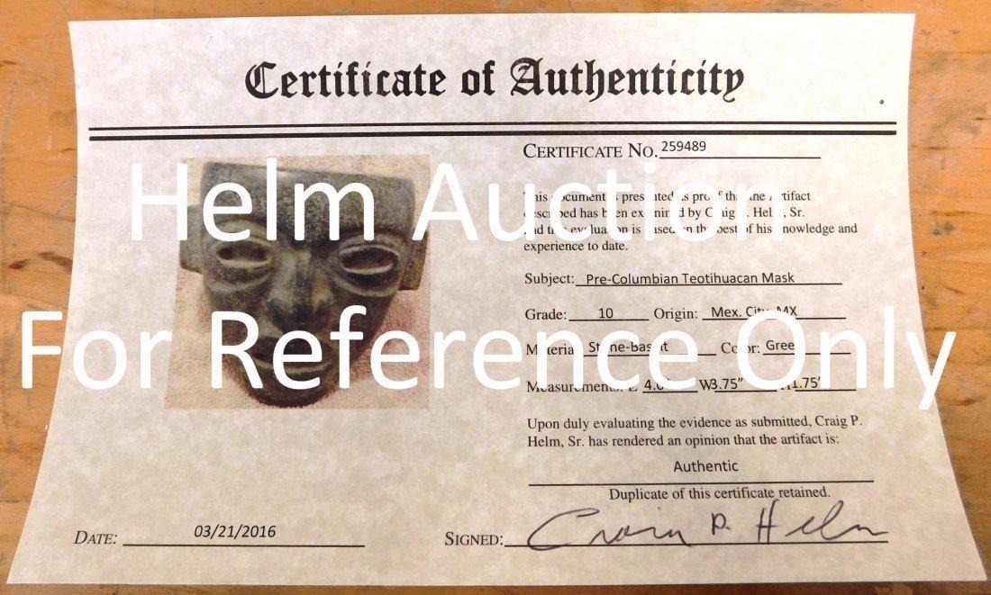 Fine Teotihuacan Stone Mask w/Helm COA - 10