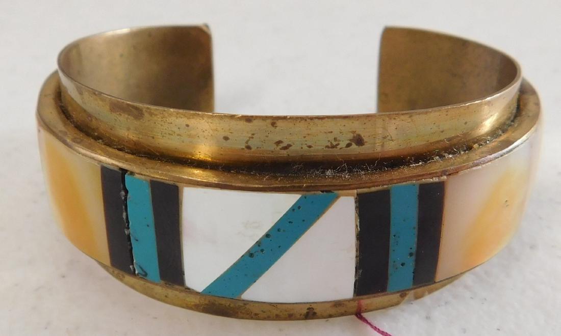 Copper & Inlaid Stone Cuff