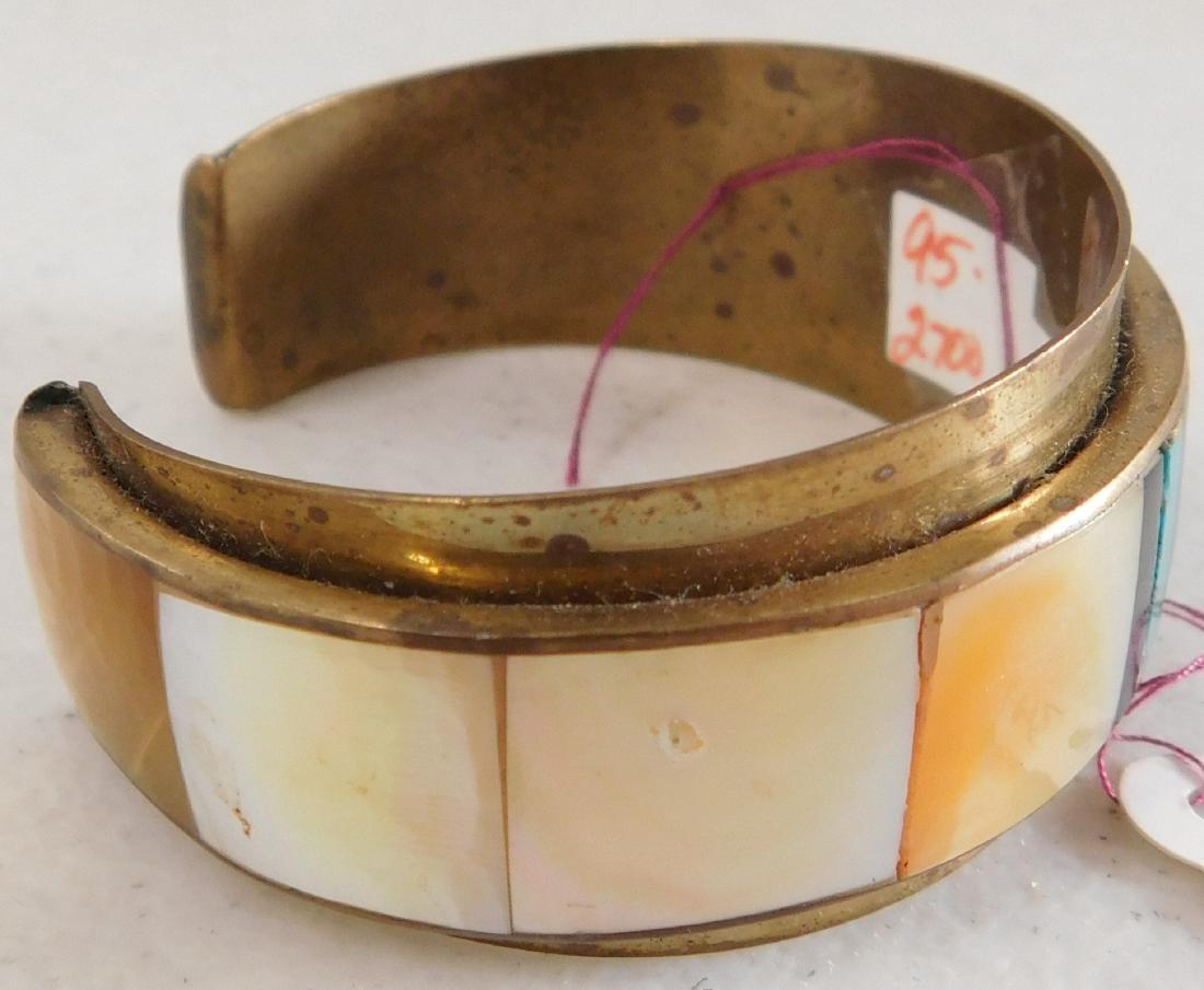 Copper & Inlaid Stone Cuff - 3