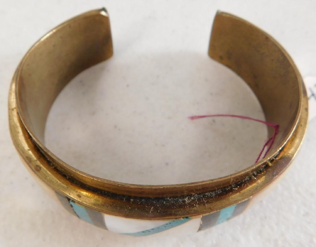 Copper & Inlaid Stone Cuff - 4