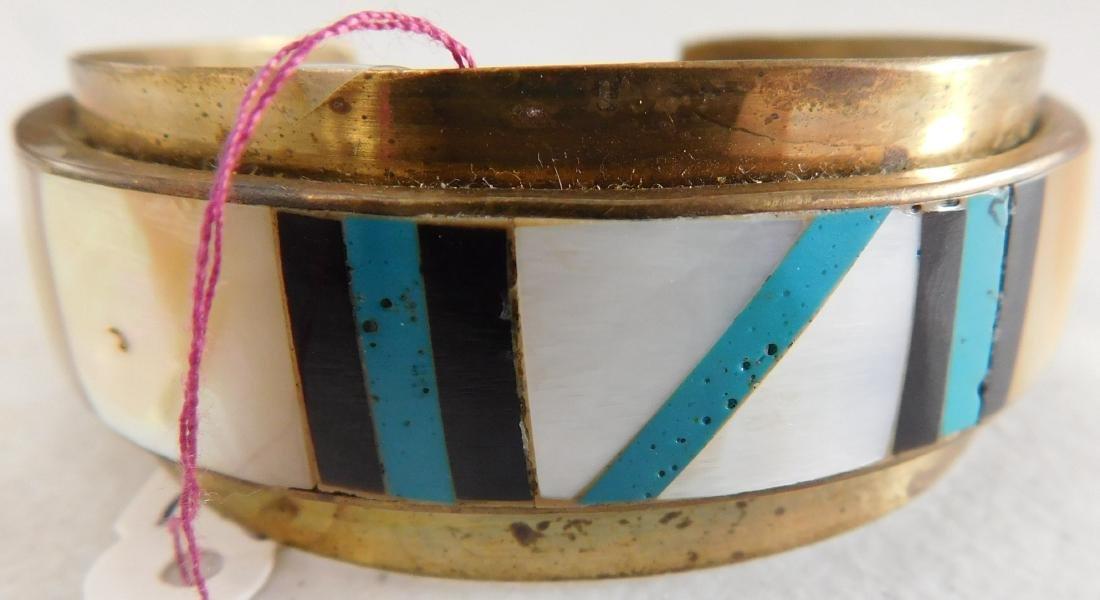 Copper & Inlaid Stone Cuff - 7