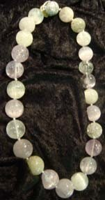 1009: NECKLACE, KUNZITE BEADS, STERLING CLASP