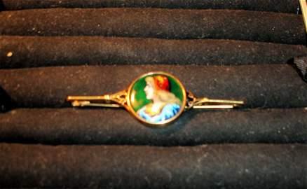 198: Limoges Gold Pin Artist Signed