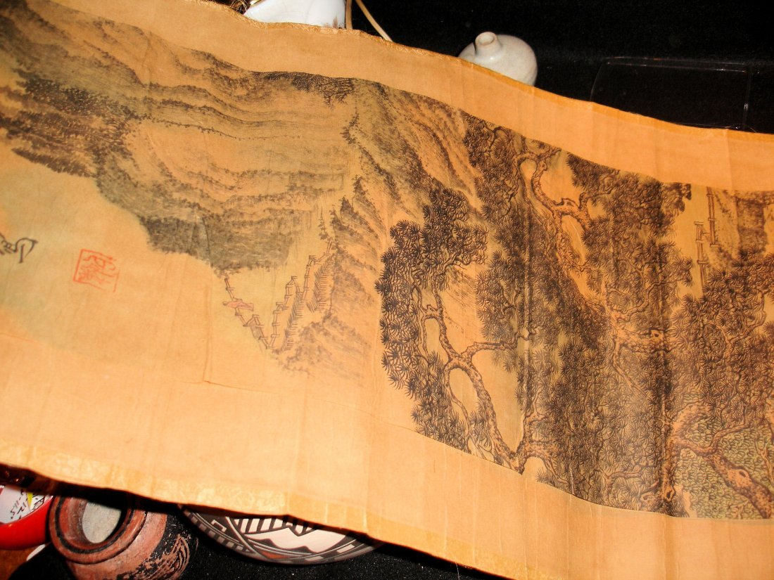 208: Old Chinese Scroll Painting Signed - 4
