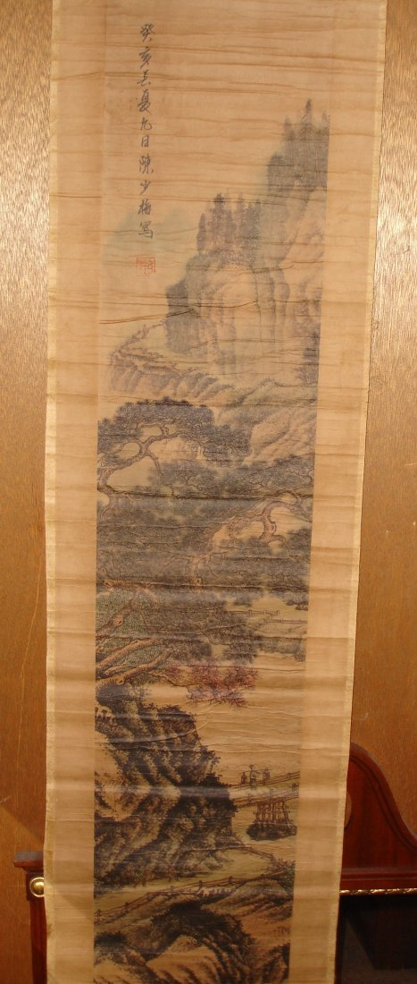 208: Old Chinese Scroll Painting Signed - 5
