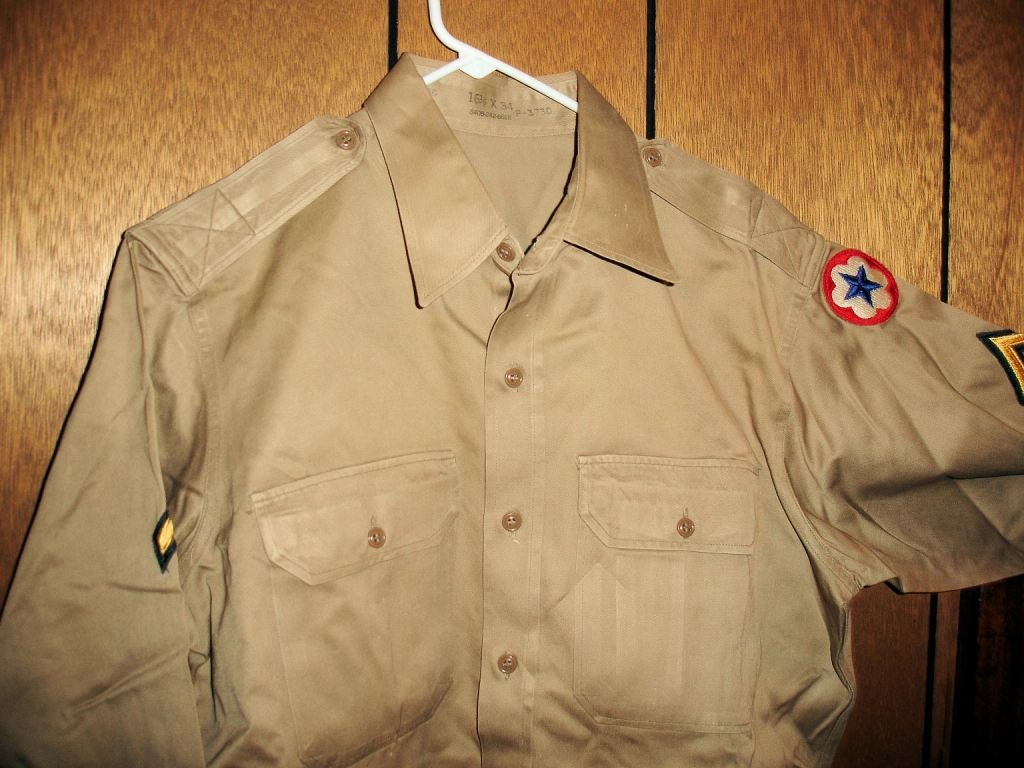 2: Tan Miltary Shirt w/ Star/Stripe Patch