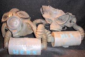 2 U.S Army Old Gas Masks