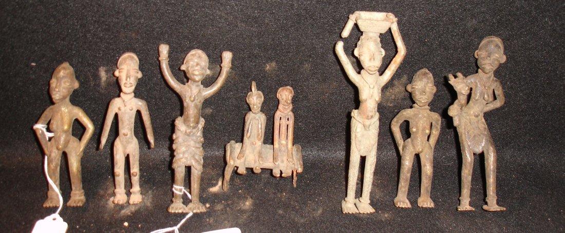 43: 7 Early Metal Works African Figures