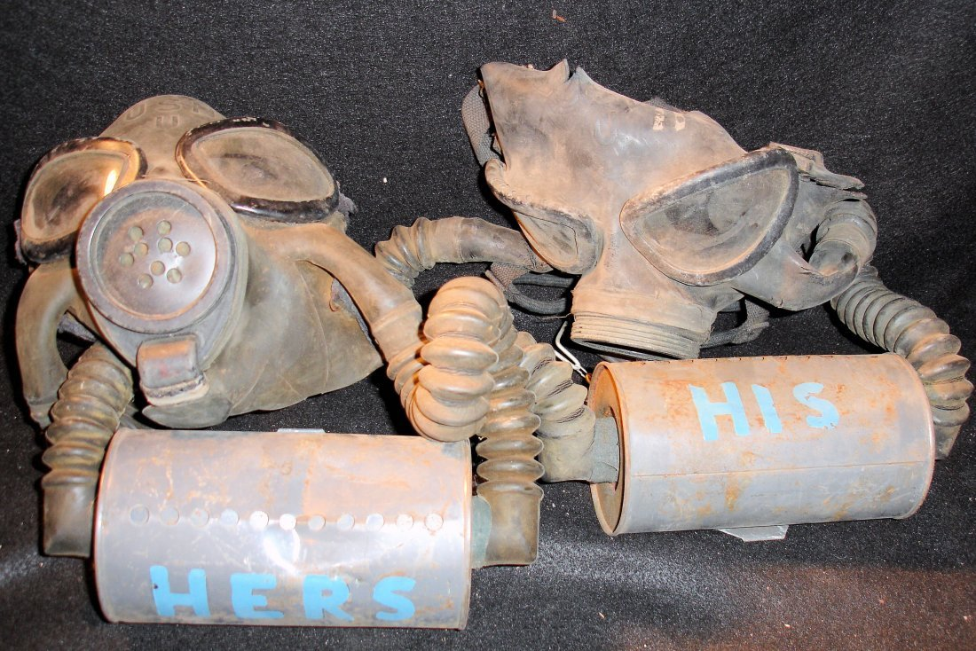 16: 2 US Army Old Gas Masks