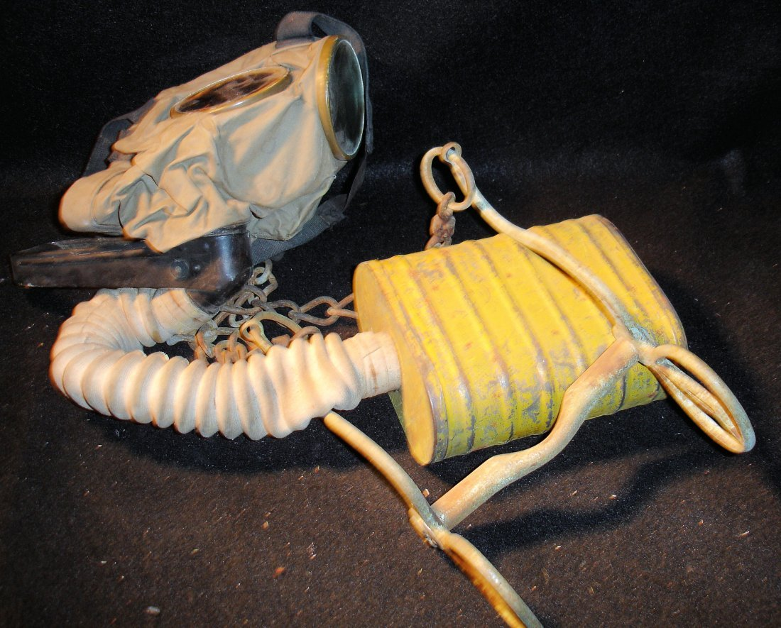17: US Army Gas Mask w/ Yellow Cannister