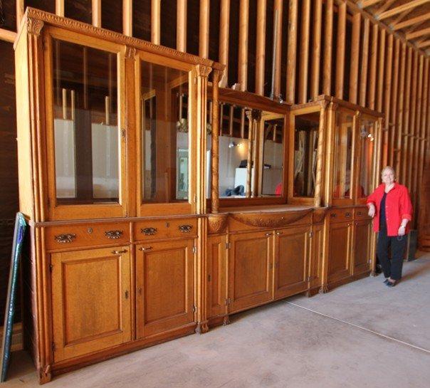 100: Antique 1880's American Oak Back Bar