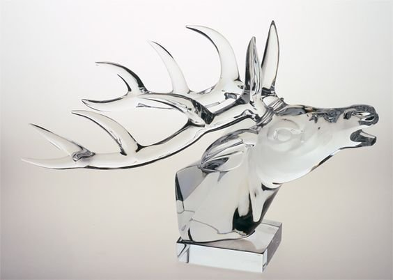 BACCARAT FRANCE, 20th CENTURY, VERY LARGE STAG HEAD
