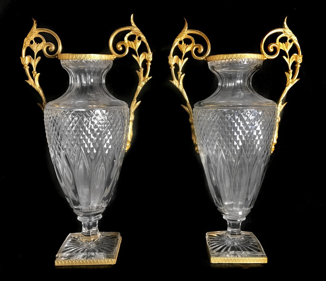 PAIR OF LOUIS XVI STYLE GILT-BRONZE MOUNTED GLASS VASES