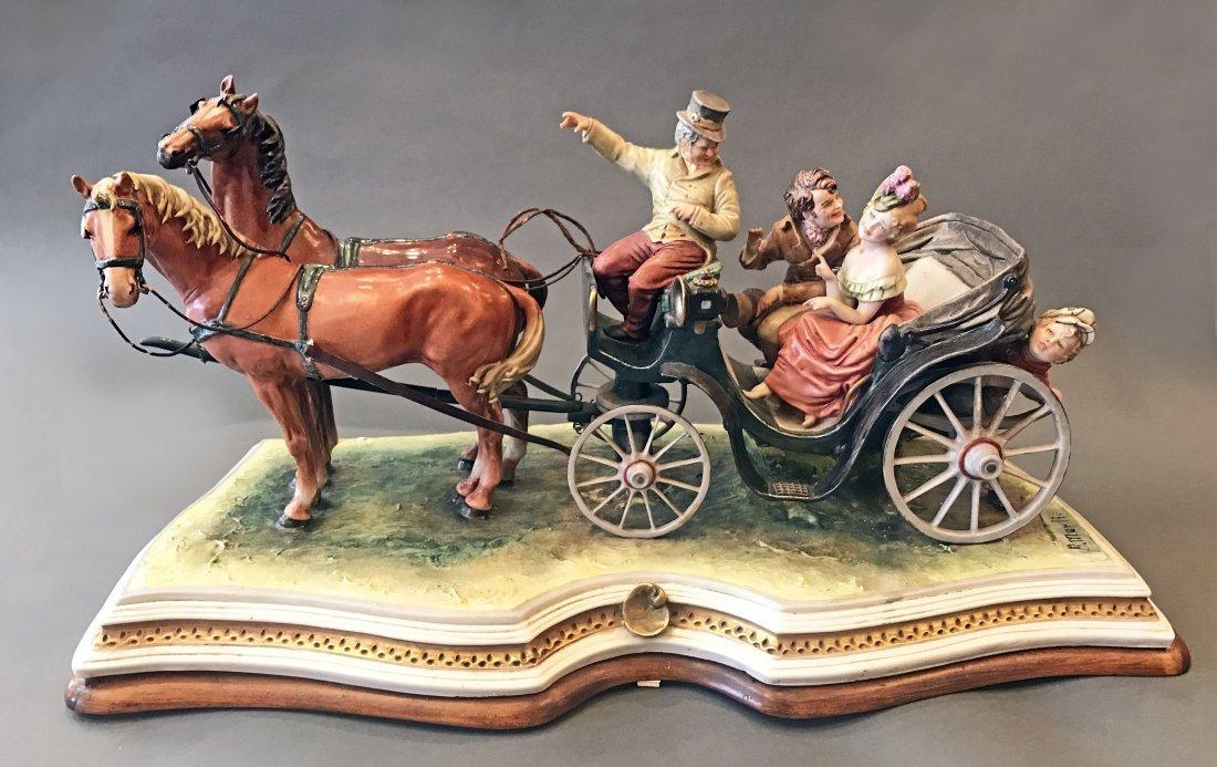 CAPODIMONTE/KINGS PORCELAIN, B. MERLI, LARGE CARRIAGE