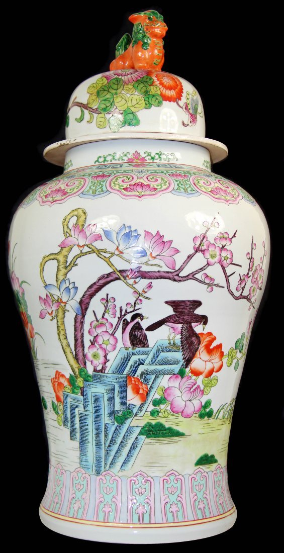 A CHINESE FAMILLE-ROSE JAR  AND COVER