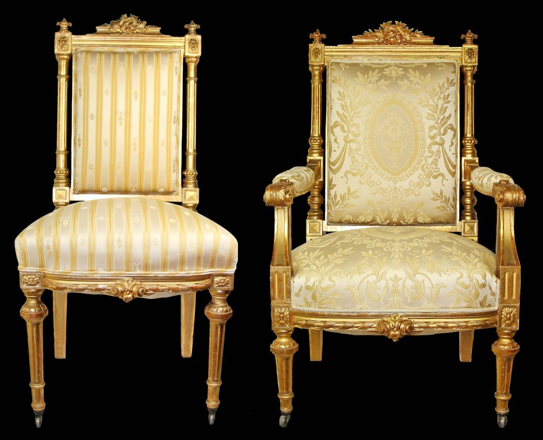 FINE SET OF TEN LOUIS XVI STYLE GILTWOOD DINING CHAIRS