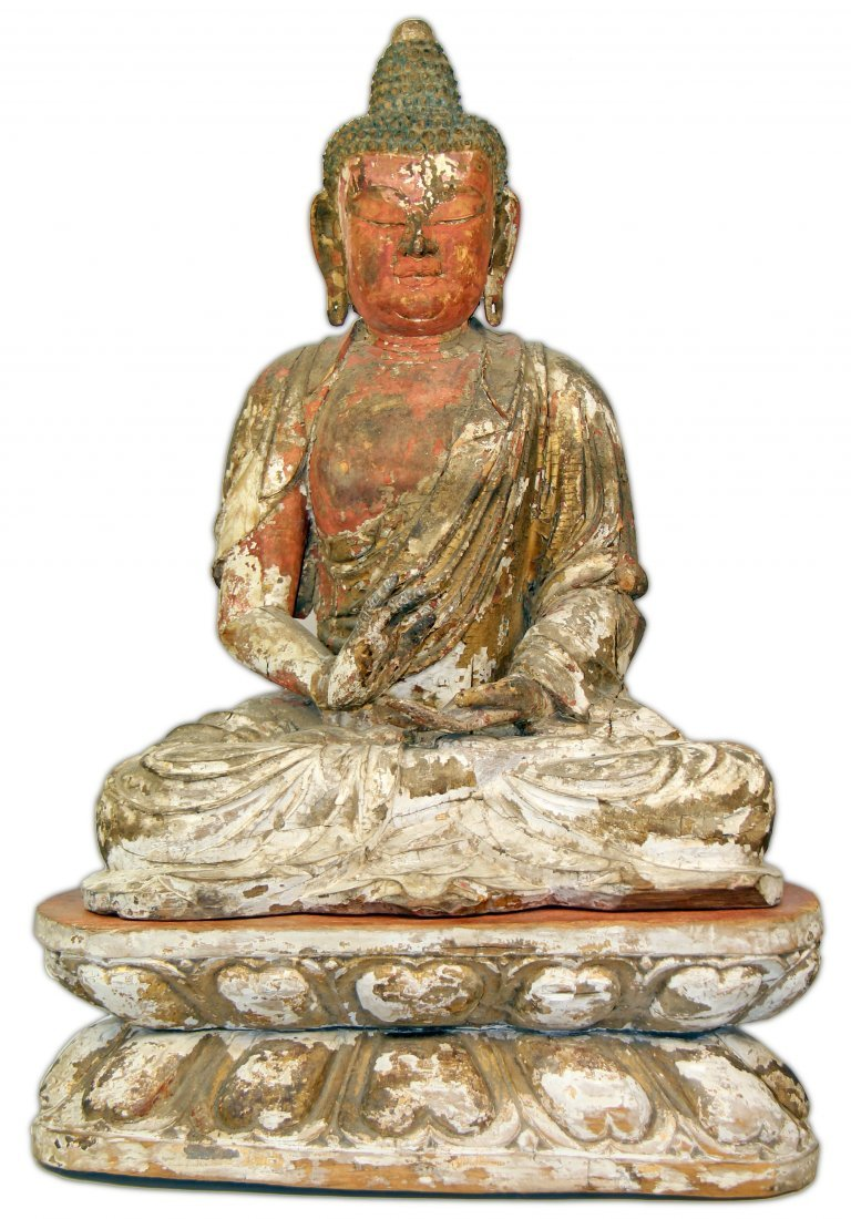CHINESE POLYCHROME-DECORATED CARVED WOOD FIGURE