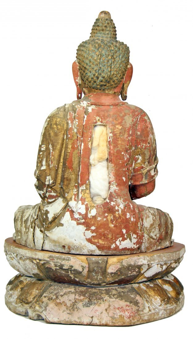 CHINESE POLYCHROME-DECORATED CARVED WOOD FIGURE - 2