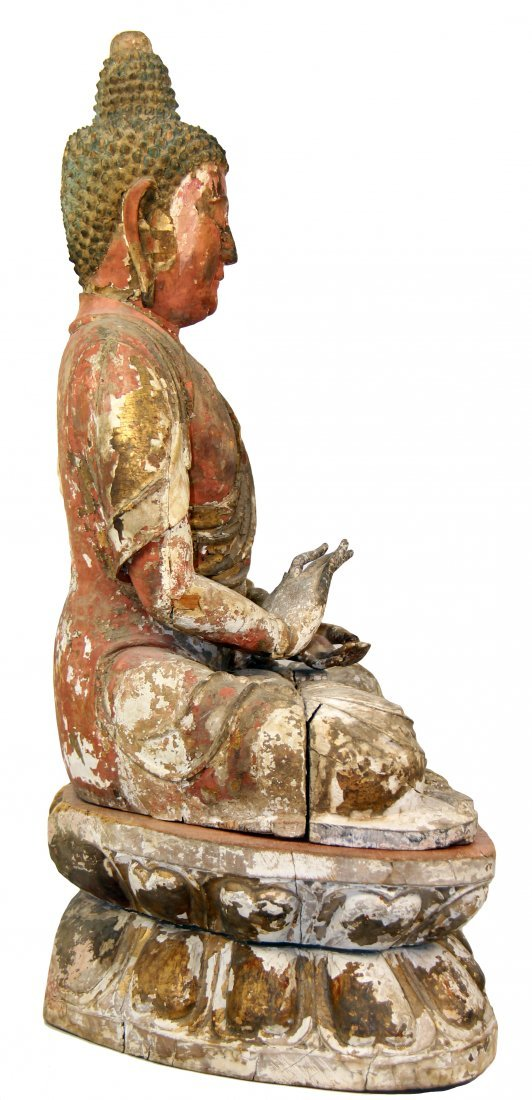 CHINESE POLYCHROME-DECORATED CARVED WOOD FIGURE - 3