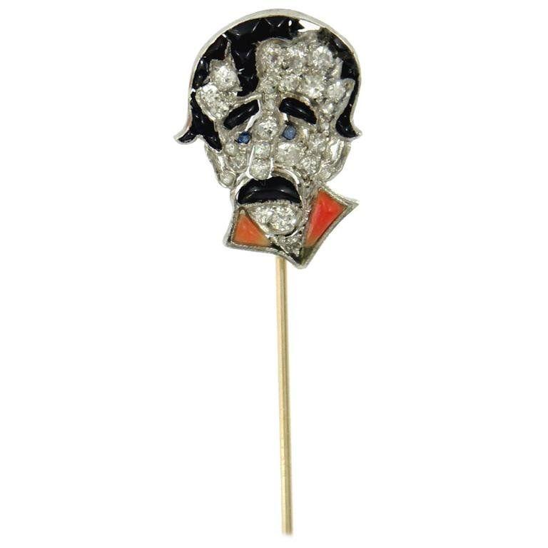 Art Deco Caricature Stick Pin