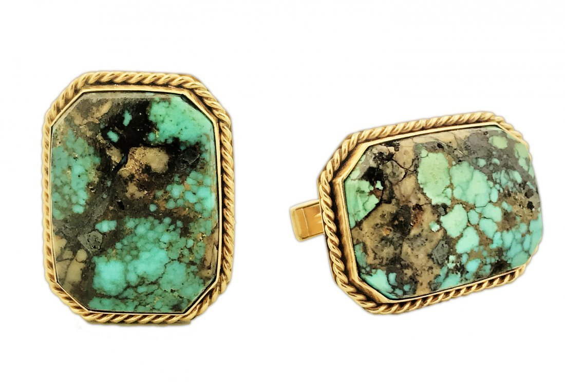 PAIR OF 14K YELLOW GOLD AND TURQUOISE CUFF LINKS