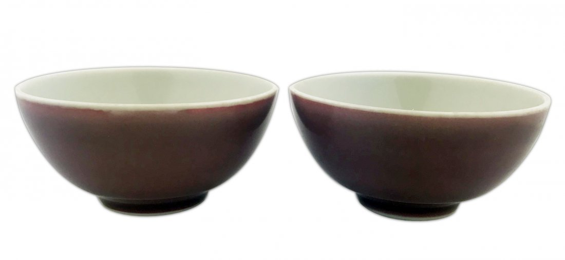 Pair of Chinese lavendar glazed porcelain tea cups