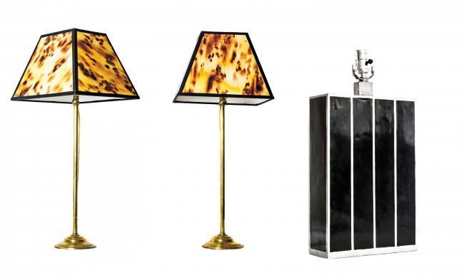 PAIR OF BRASS LAMPS WITH FAUX TORTOISE SHADES AND