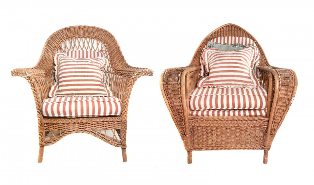"""A PAIR OF VINTAGE """"WICKER"""" ARM/LOUNGE CHAIRS"""