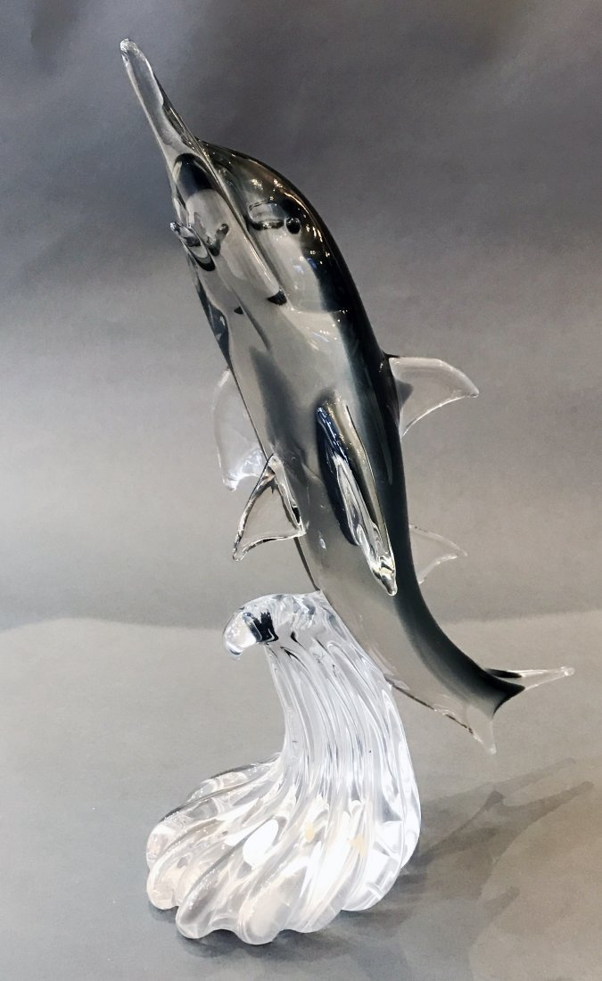 LARGE VINTAGE MURANO ITALIAN GLASS FIGURE OF A DOLPHIN