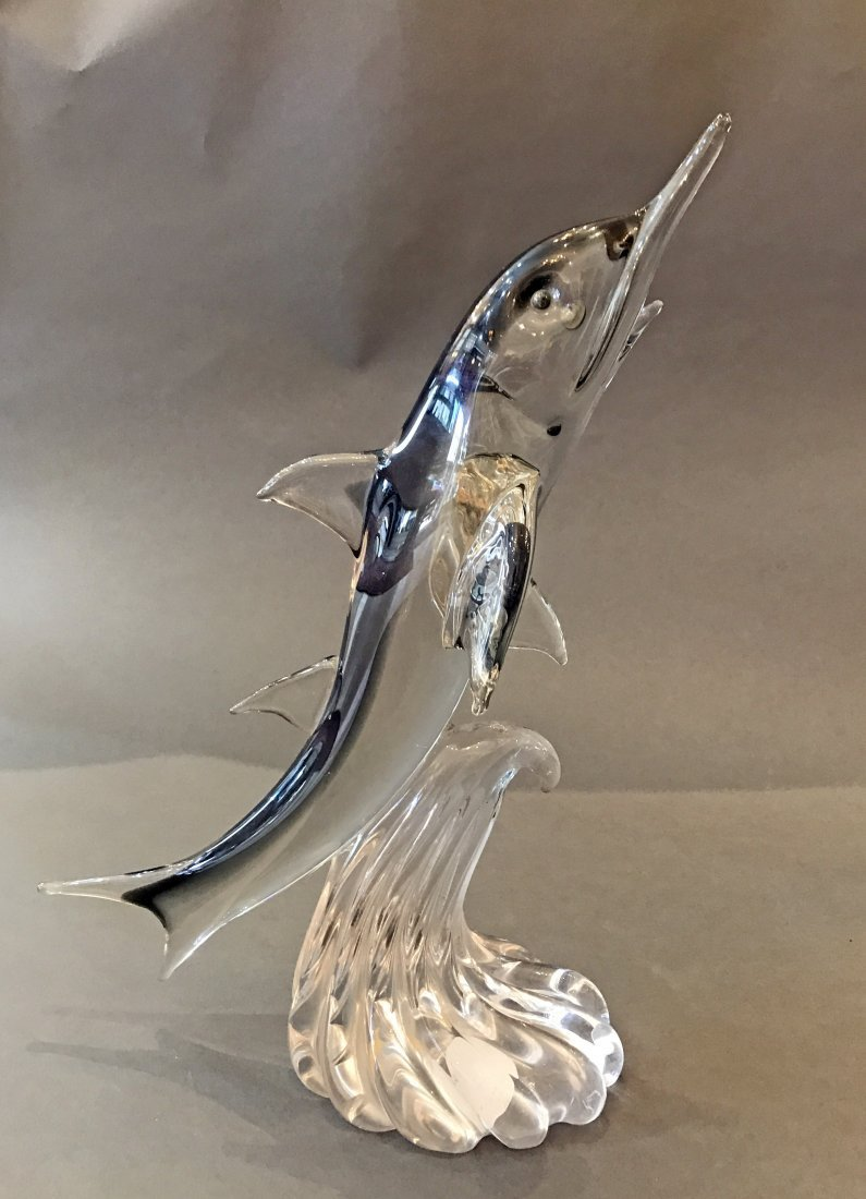 LARGE VINTAGE MURANO ITALIAN GLASS FIGURE OF A DOLPHIN - 3