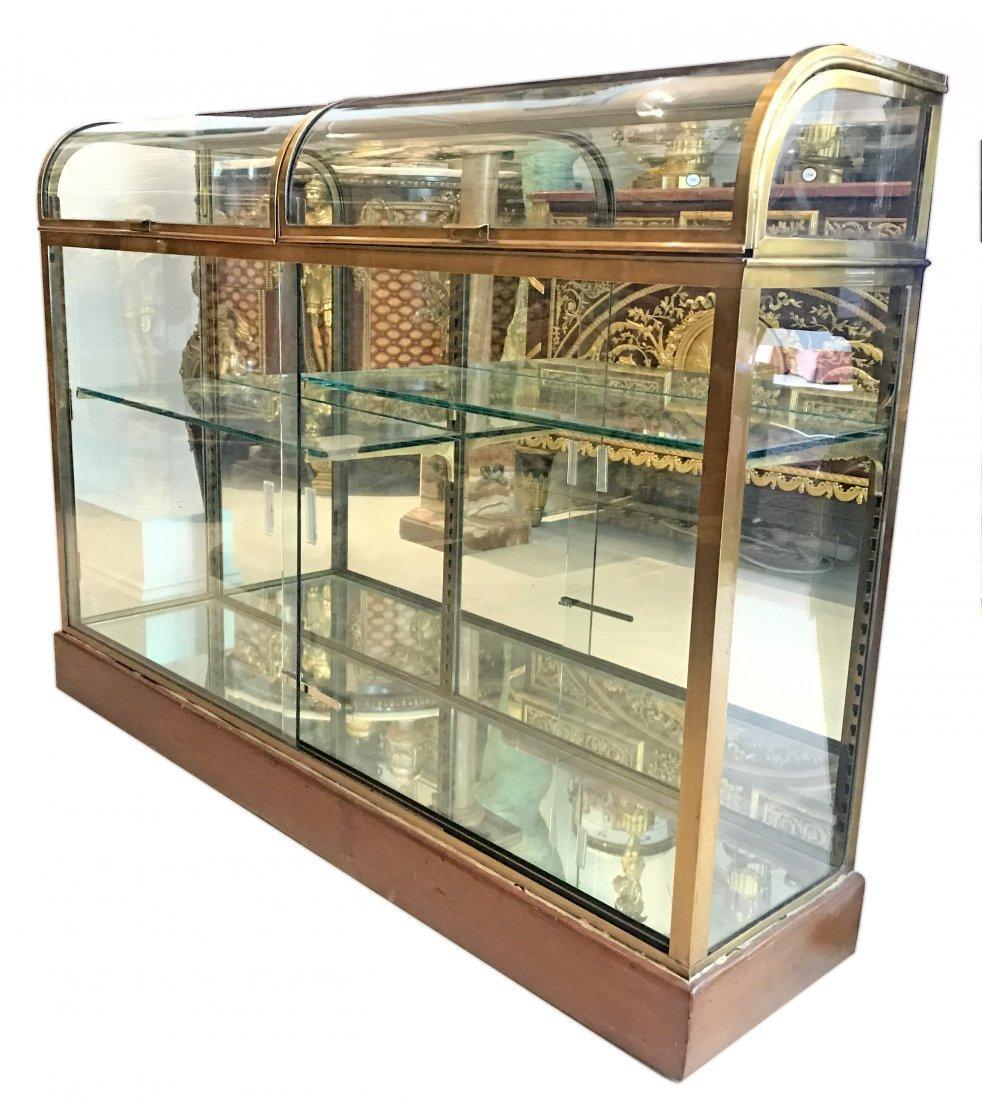 NAPOLEON III BRASS AND GLASS LOW VITRINE CABINET