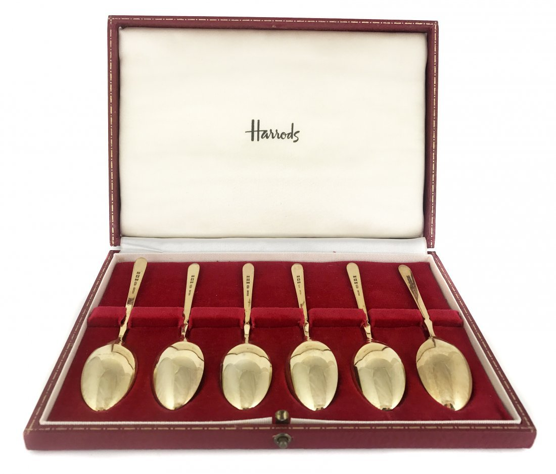 HARRODS SET OF SILVER GILT SPOONS - 2