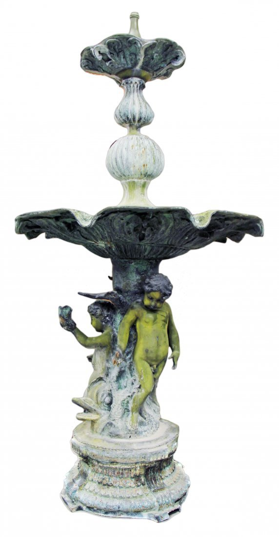 A BRONZE FIGURAL FOUNTAIN